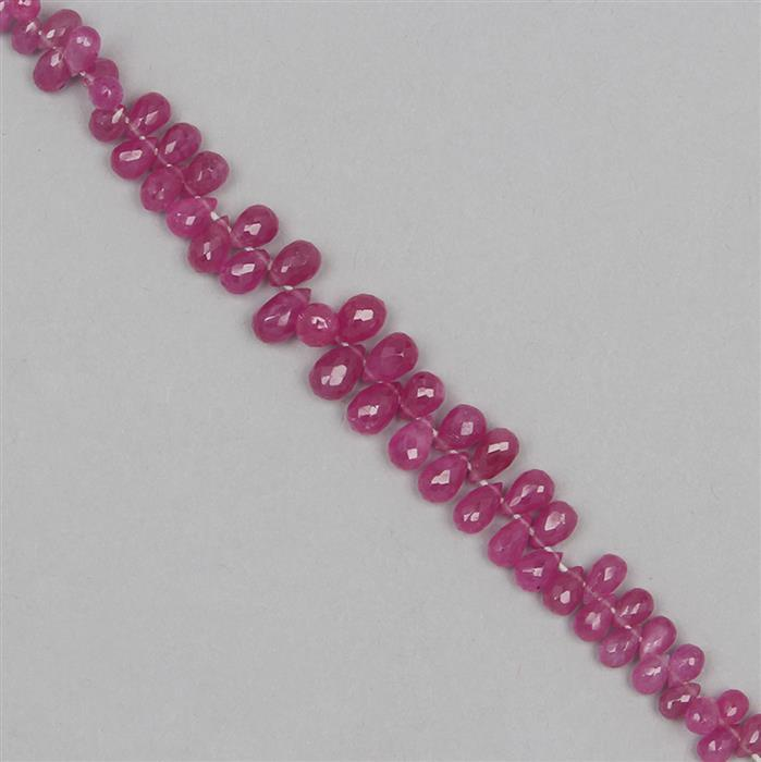 55cts Ruby Graduated Faceted Drops Approx 3x2 to 7x4mm, 17cm Strand.
