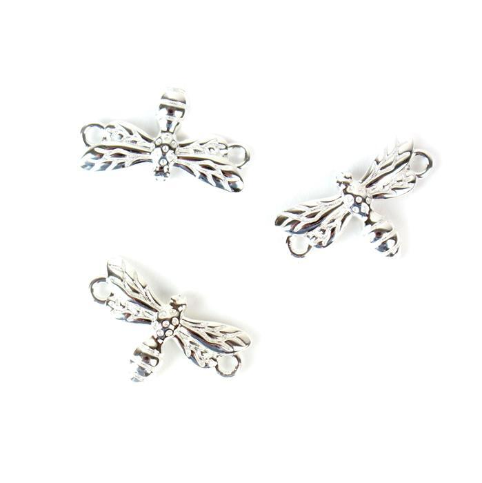 925 Sterling Silver Dragonfly Connectors Approx 18x11mm, 3pcs