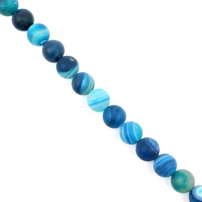 250cts Blue Striped Frosted Agate Rounds Approx 10mm, 38cm strand