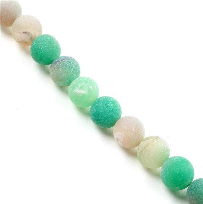 380cts Green Agate Frosted Rounds with Druzy Hole Approx 12mm, Approx 38cm/strand