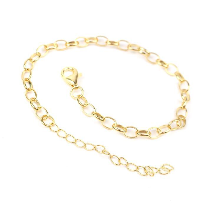 Gold Plated 925 Sterling Silver Oval Rolo Chain Bracelet Approx 7