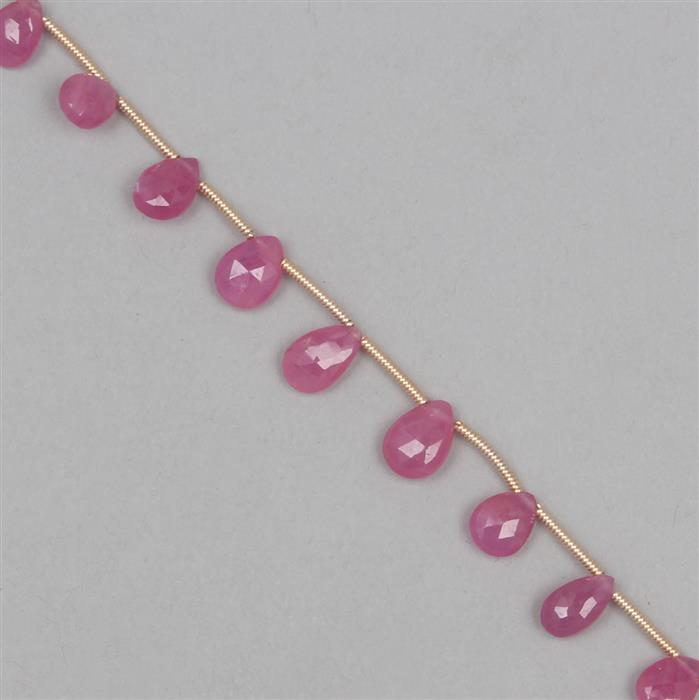 25cts Pink Sapphire Graduated Faceted Pears Approx From 6x4 to 9x6mm, 18cm Strand.