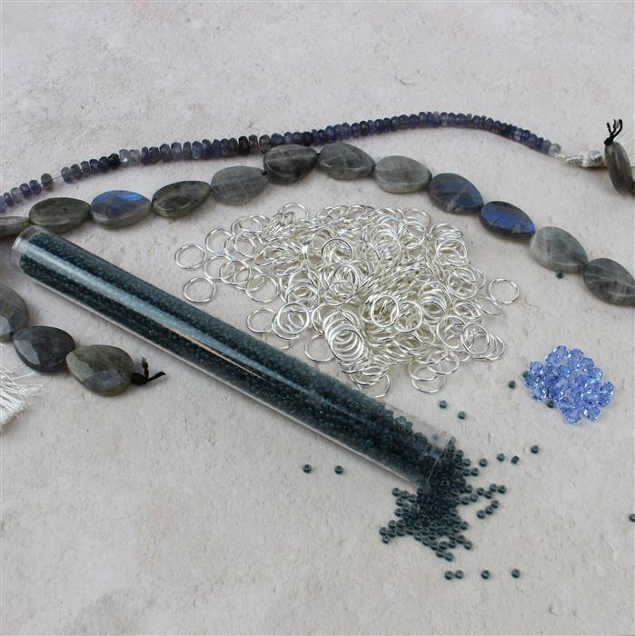 True Blue:Labradorite Drops,Iolite Rondelles,Slate Miyuki 11/0,7mm jumprings,Swarovski 4mm