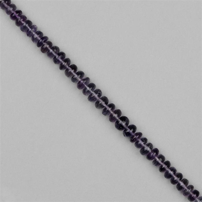 56cts Purple Fluorite Graduated Plain Rondelles Approx 4x2 to 7x5mm, 18cm Strand.