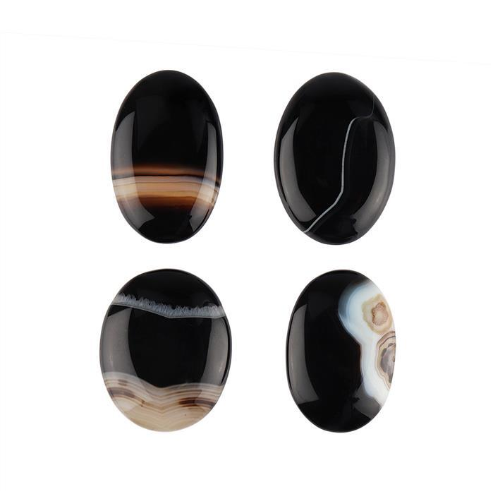 295cts Black Banded Agate Multi Size Cabochons Assortment.