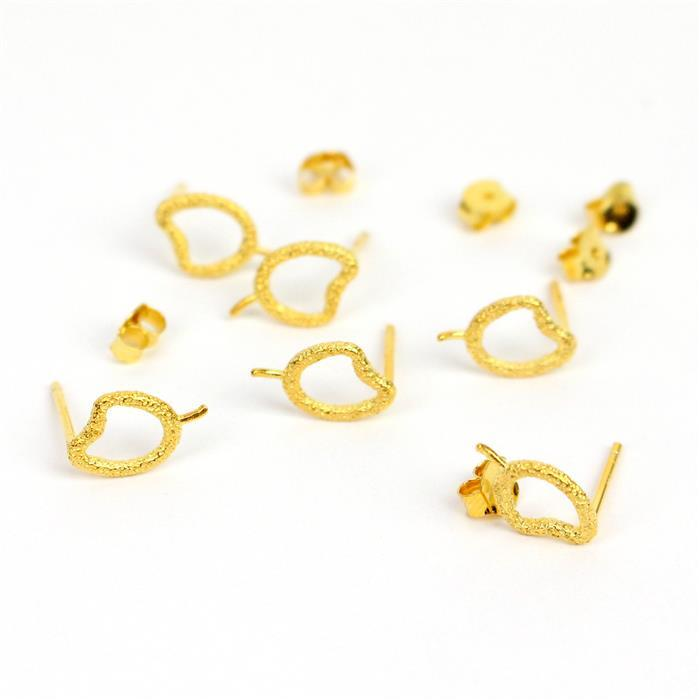 Gold Plated 925 Sterling Silver Hammer Pebble Earring Post Approx 7.5x12mm (3 Pairs)