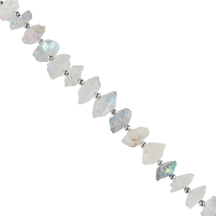 235cts Mystic Colour Coated Clear Quartz Graduated Hammered Saucers Approx 12 to 20mm, 18cm Strand.
