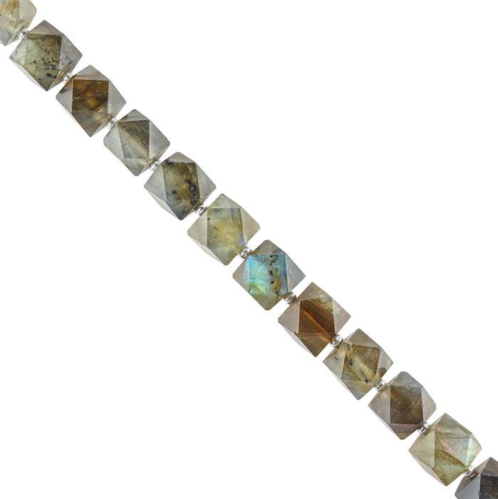 100cts Labradorite Faceted Cubes Approx 7x6mm, 16cm Strand.