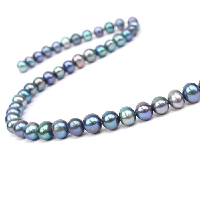 Peacock Freshwater Cultured Potato Pearls Approx 6x7mm, 38cm Strand