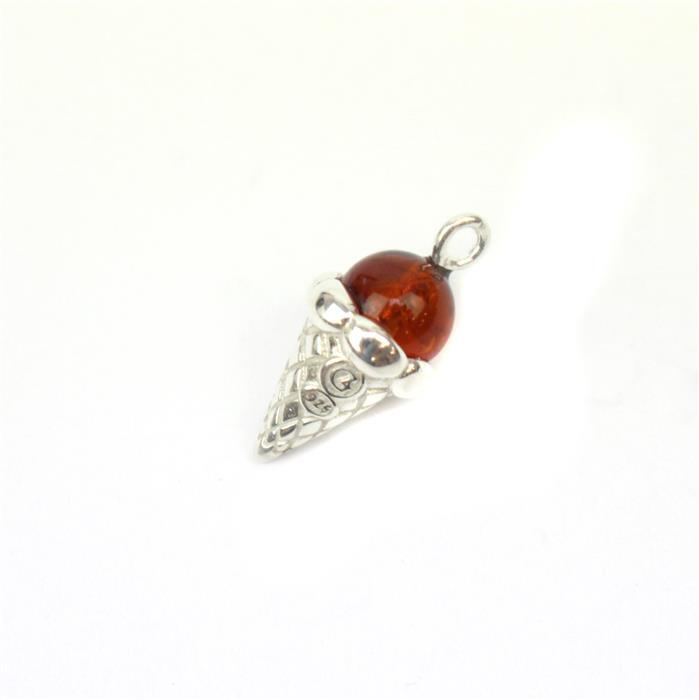 Baltic Cherry Amber Icecream Charm Approx 18x9mm Sterling Silver