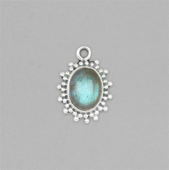 925 Sterling Silver Vintage Style Gemset Charm Approx 18x13mm Inc. 3cts Labradorite Oval Cabochon Approx 10x8mm