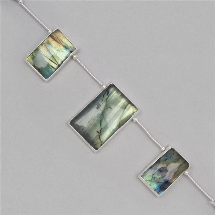 85cts Electroplated Labradorite Rectangle Pendants Approx 21x12mm to 29x19mm (3pcs)