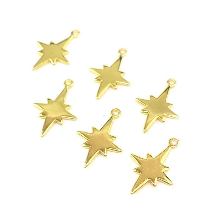 Gold Colour Base Metal North Star Pendants Approx 24x17mm (6pcs)