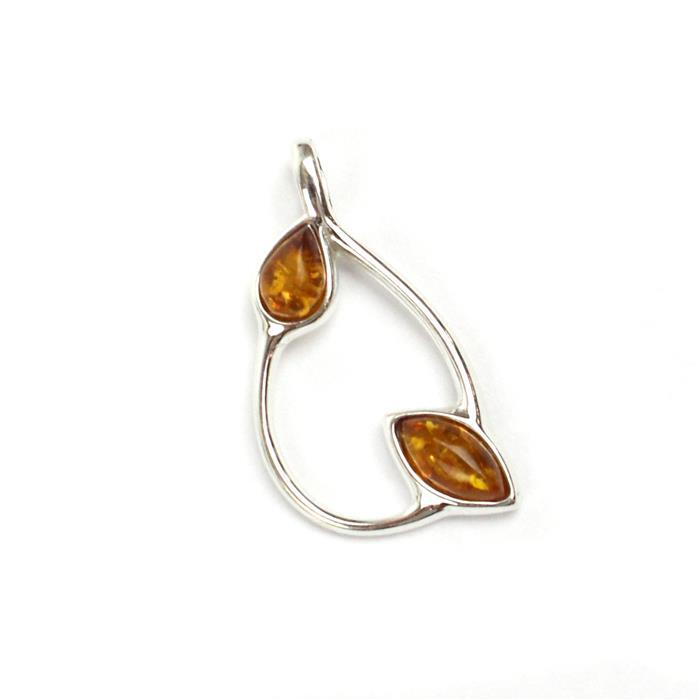 Baltic Cognac Amber Sterling Silver Teardrop Pendant Approx 25mm