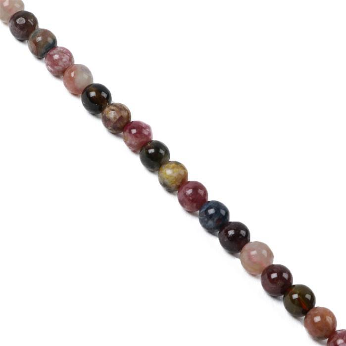 90cts Multi-Colour Tourmaline Plain Rounds Approx 6mm 38cm Strand