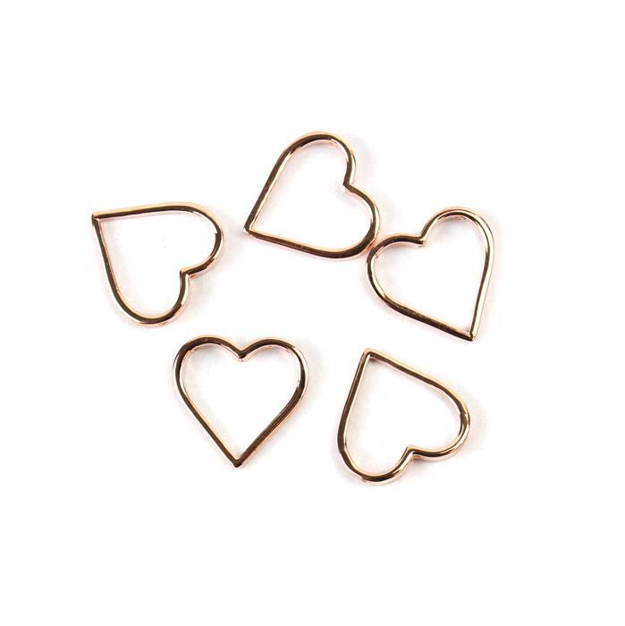 Rose Gold Plated 925 Sterling Silver Alexandra Collection Heart Pendants Approx 15mm 5pk
