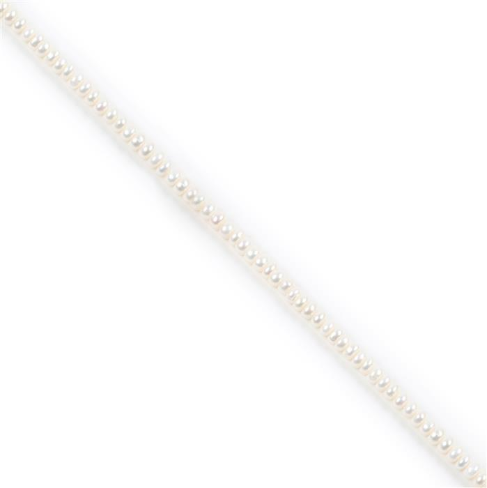 White Freshwater Cultured Pearl Button Beads Approx 5-6mm, 18cm Strand