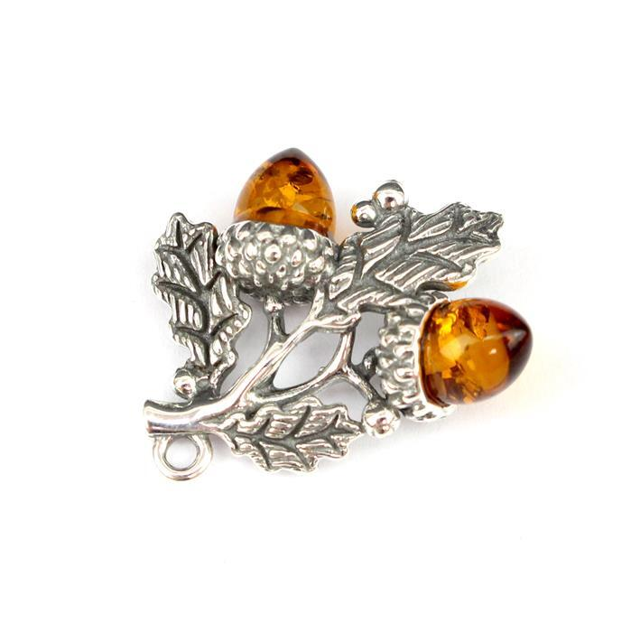 Baltic Cognac Amber Acorn Branch Sterling Silver Pendant Approx 23x18mm