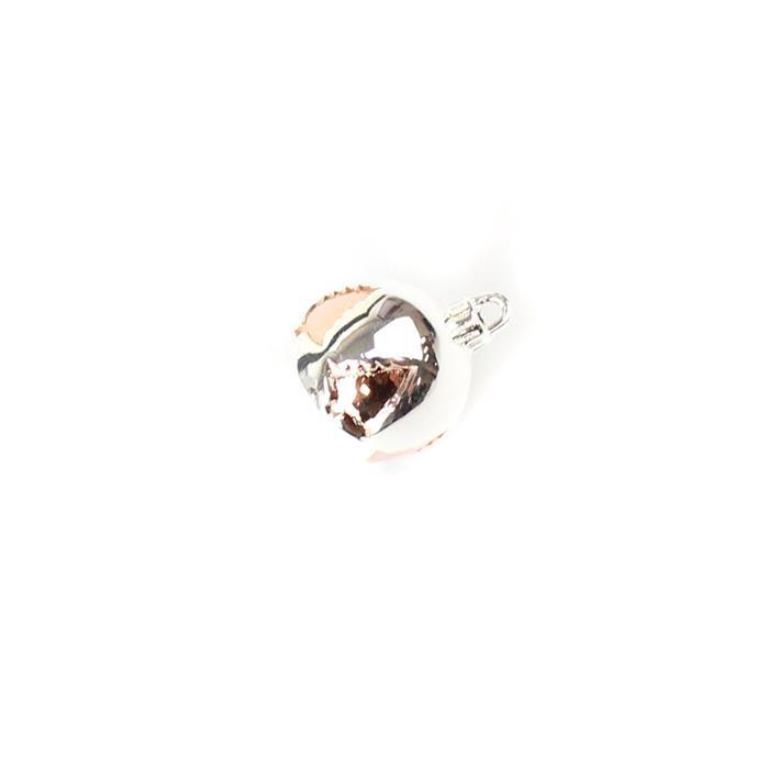 925 Sterling Silver 3D Bauble Charm with Rose Gold Plated Christmas Tree Detail Approx 12x11mm, 1pc
