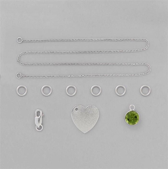Birthstone Kit: 925 Sterling Silver Necklace Kit Inc. 1.5cts Peridot Brilliant Round 8mm (10 Pcs)