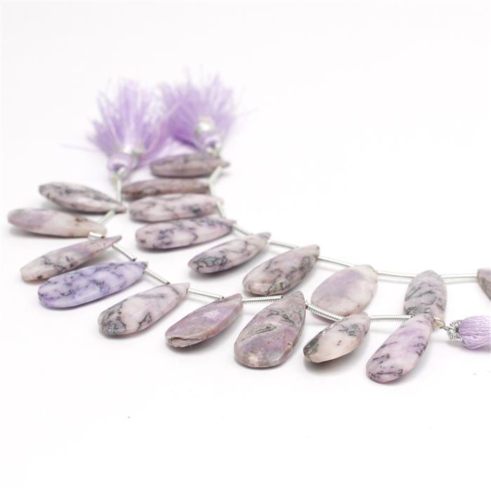 2x 45cts Coated Lavender Dendritic Agate Graduated Faceted Pears Approx 20x9 to 23x10mm