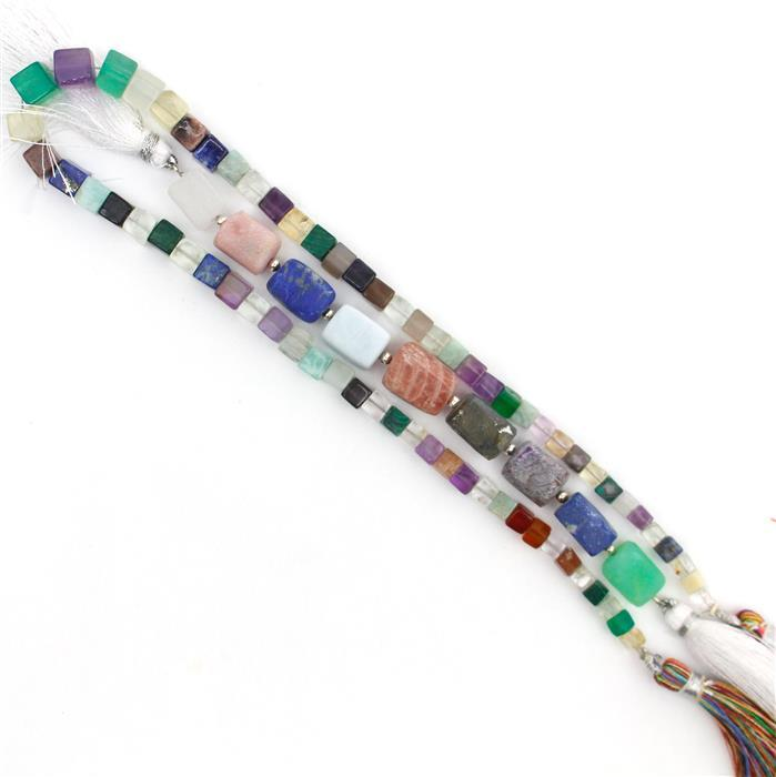 Double Trouble Multi Gemstone Matte Finished Irregular rectangles & Plain Cubes