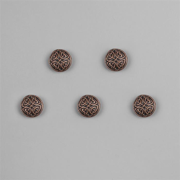 Antique Bronze Plated Base Metal Buttons (Alloy) Approx 17mm (5pcs/set)