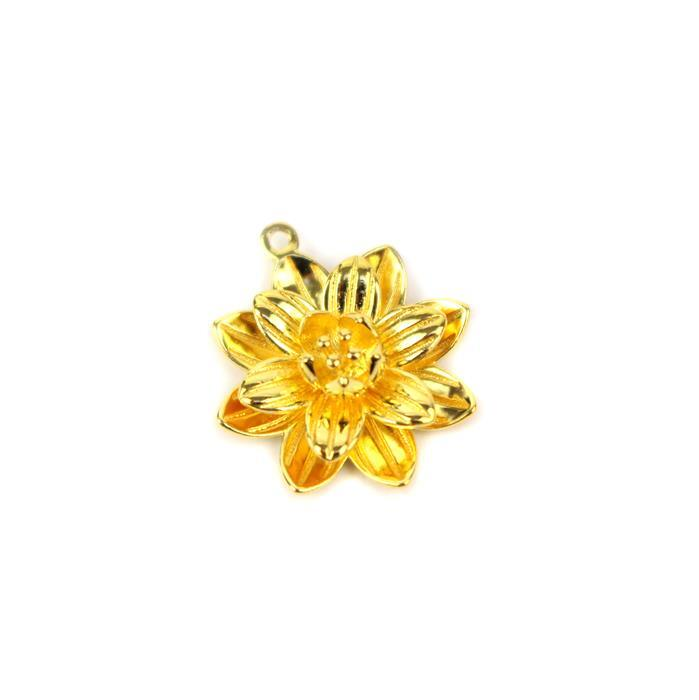 Gold Plated 925 Sterling Silver 3D Lotus Flower Pendant / Charm Approx 18x20mm, 1pc