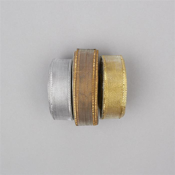 30m Gold, Silver & Bronze Colour Ribbons width approx 18mm (3pcs)