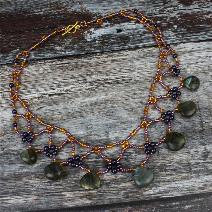 Midnight; Inc; Midnight Shell Pearl, Labradorite Drops & Seed Beads