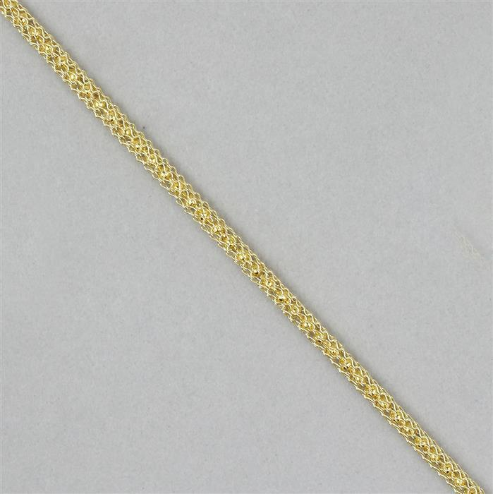 1m Gold Coloured Knitted Bead Chain 3mm