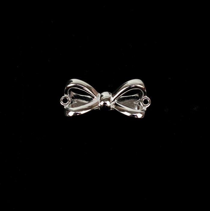 925 Sterling Silver Large Bow Connector Approx 8x20mm 1pc