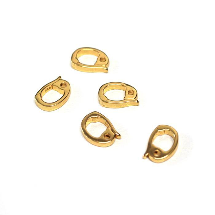 Gold Plated 925 Sterling Silver Clip On Bails Approx 7x10mm (5pcs)