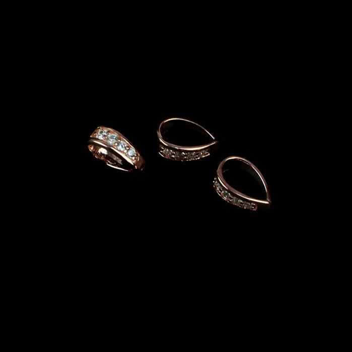 Rose Gold 925 Sterling Silver Cubic Zirconia Bail Approx 8mm, 3pcs
