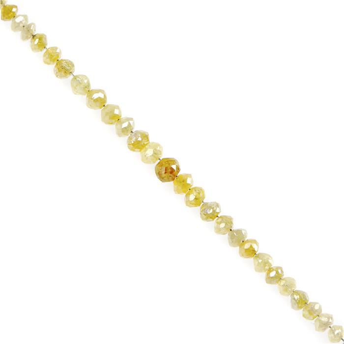 3.5cts Canary Diamond Graduated Faceted Rondelles Approx 2x1 to 3x2mm, 5cm Strand.