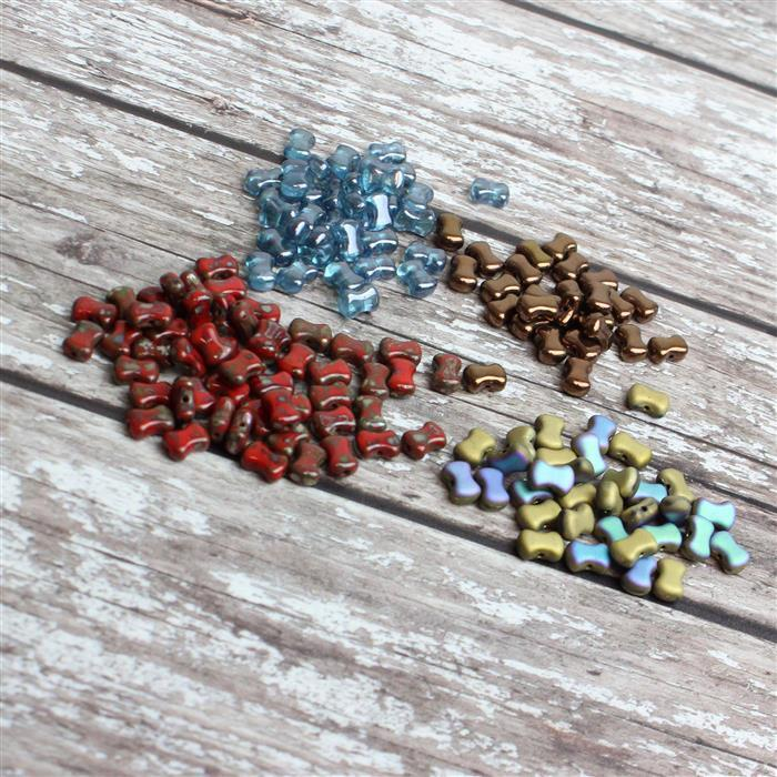 Last of Stock Czech Vertical CoCo Beads! Inc; Dark Bronze, Red Picasso, Blue & Amber