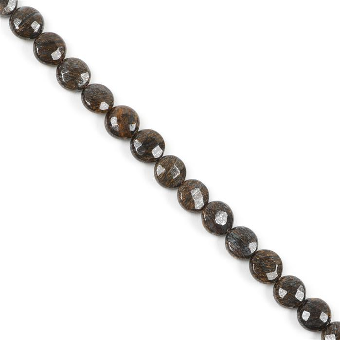 160cts Bronzite Faceted Puffy Coins Approx 10mm, Approx 38cm Strand