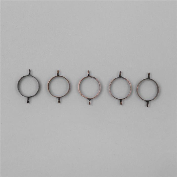 Antique Copper Plated Brass Bezel Connectors Round - 16mm (5pcs/pk)