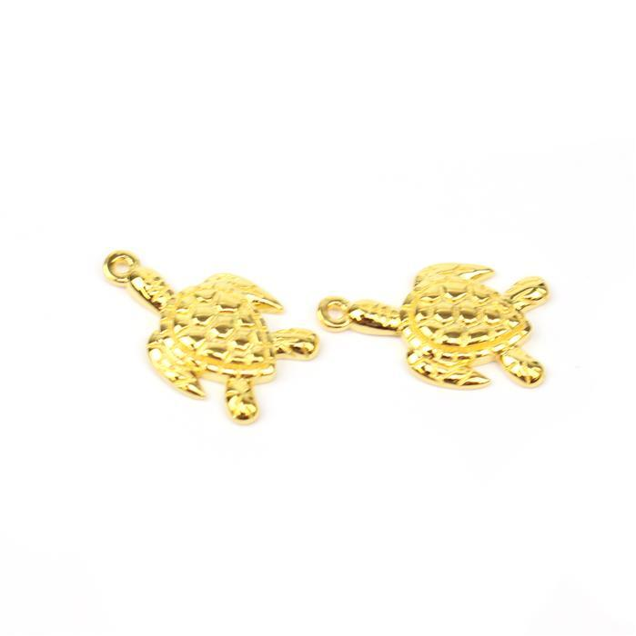 Gold Plated 925 Sterling Silver Turtle Charms Approx 17x10mm 2pk