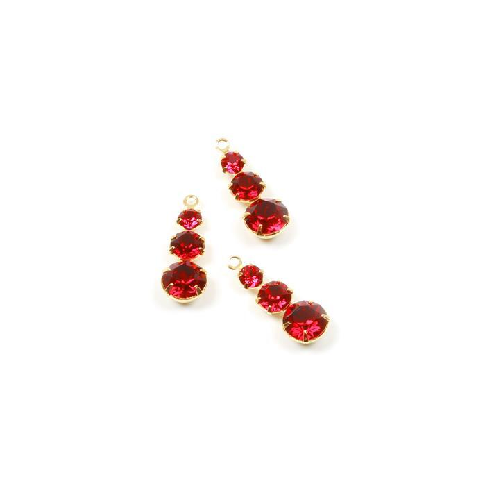Swarovski Multi Stone Pendant, Ruby, Gold, 24x8.5mm, 3pk