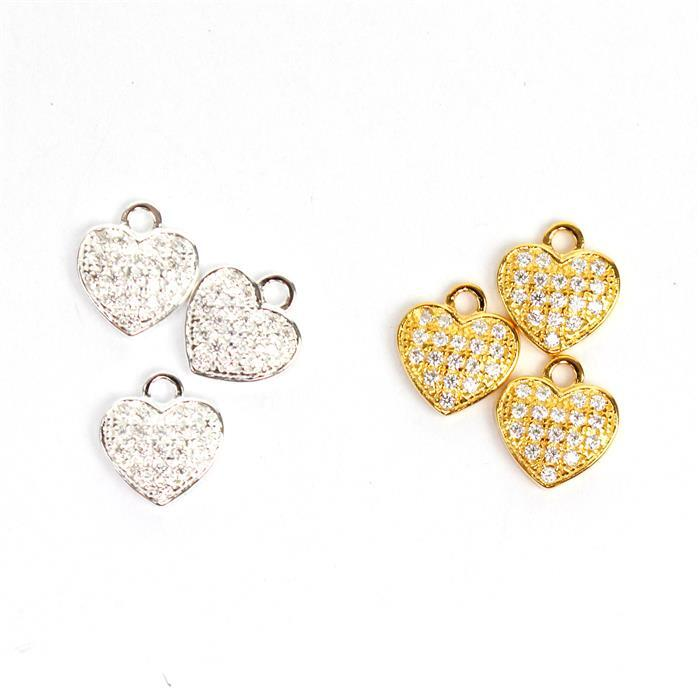 925 Sterling Silver & Gold Plated Heart Charms. 6 Total.