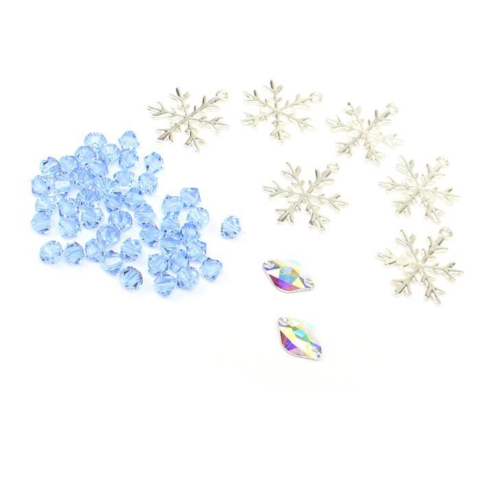 Icicle Blue; Silver Plated Base Metal Snowflake Pendants 24mm (6pcs) & Swarovski Bicones