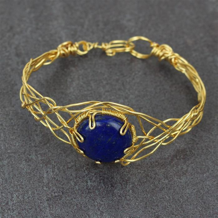 Golden Days: Lapis Lazuli Cabochons, Green Rice Pearls, Gold coloured silver plated wires