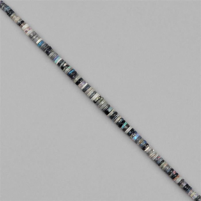 18cts Australian Opal Graduated Plain Wheels Approx 2x1 to 4x2mm, 14cm Strand.