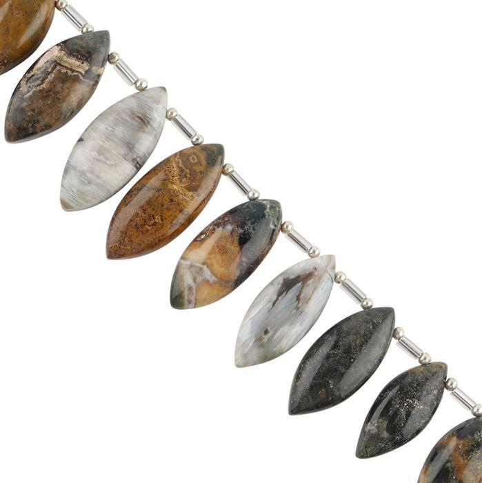 115cts Ocean Jasper Graduated Plain Marquise Shapes Approx 21x10 to 28x10mm, 10cm Strand.