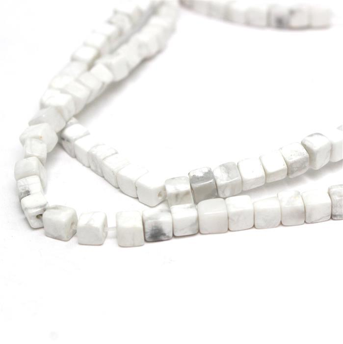2 x 60cts Howlite Cube Approx 4mm, 38cm strand