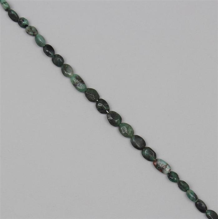 60cts Emerald Graduated Irregular Plain Ovals Approx 4x3 to 9x6mm, 34cm Strand.