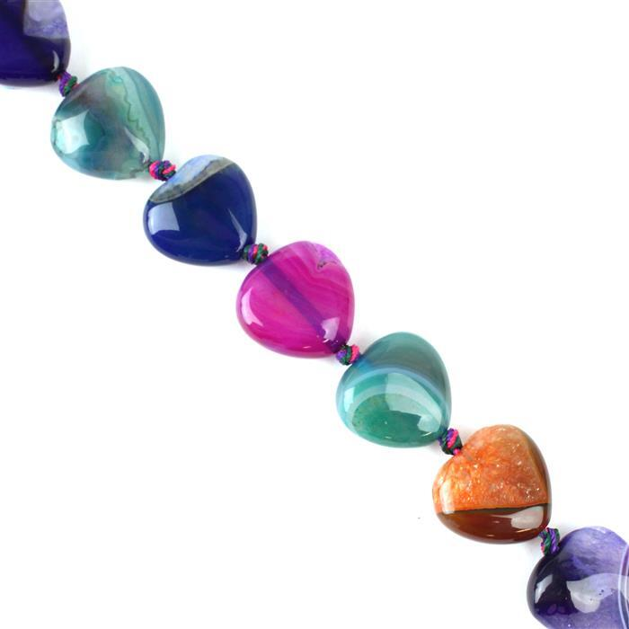 390cts Multi-Colour Agate Hearts Approx 20mm  38cm