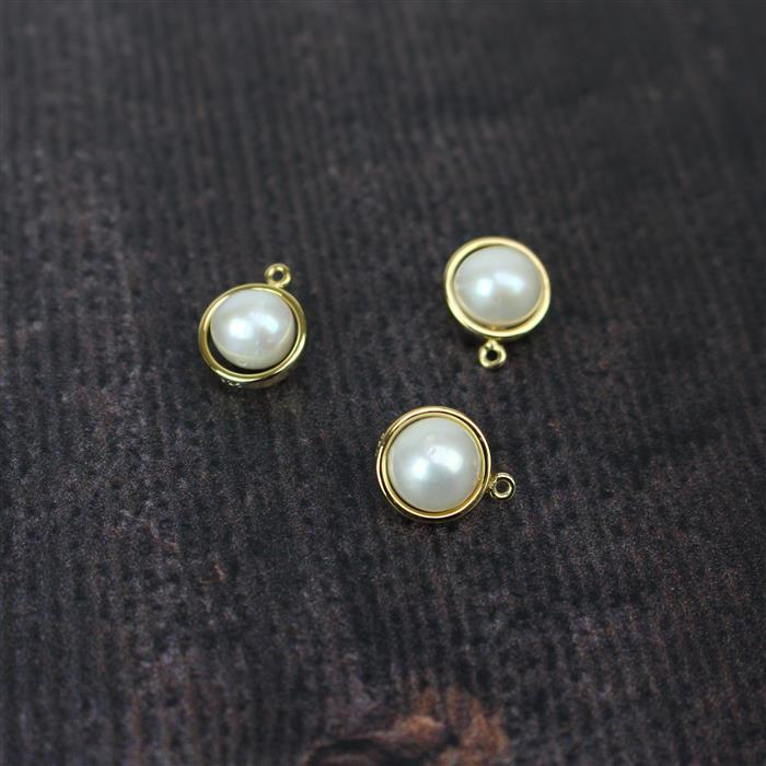 Gold Plated 925 Sterling Silver Freshwater Cultured Pearl Charms Approx. 10x12mm, 3pcs