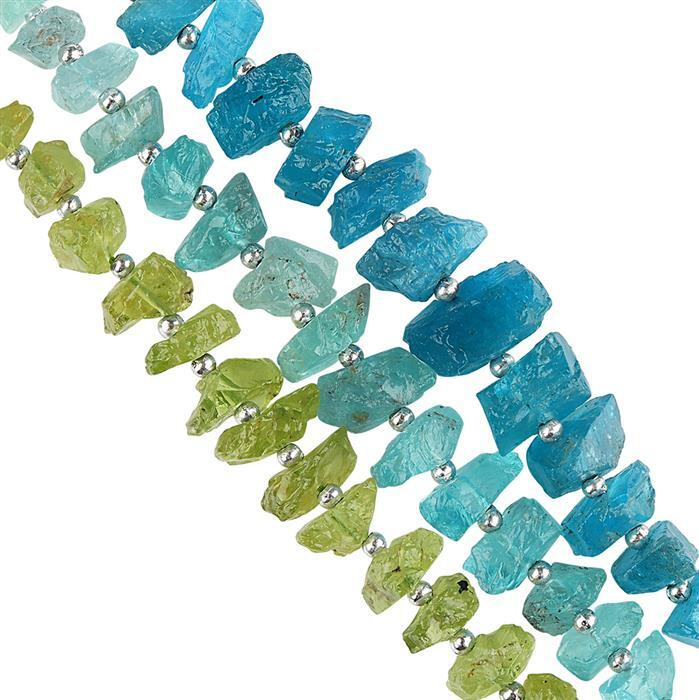 60cts Neon Apatite, Sky Blue Apatite & Peridot Rough Nuggets Approx 4x2 to 7x4mm Strand.